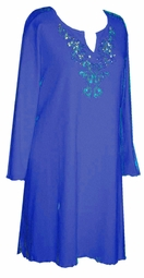 Royal or Navy Blue Rhinestone Plus Size & Supersize Extra Long Shirts 0x 1x 2x 3x 4x 5x 6x 7x 8x 9x