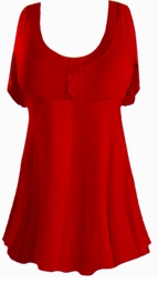 SALE! Plus Size Ruby Red Poly/Cotton Mock Button Babydoll Short Sleeve Tops 1x 2x 3x 4x 5x 6x 7x 8x
