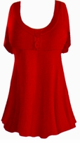 SALE! Ruby Red Cotton Lycra Mock Button or Plain Top Plus Size & Supersize Short Sleeve Shirt 1x 2x 3x 4x 5x 6x 7x 8x