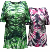 SALE! Rock Beats Hot Pink & Black Or Green & Black Tie Dye Plus Size T-Shirt XL 2x 3x 4x 5x 6x