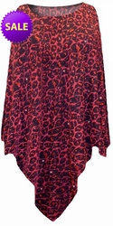 SOLD OUT! SALE! Black with Ruby Leopard Glitter Slinky Print Plus Size Supersize Poncho