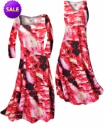 CLEARANCE! Red & Black Fire Tye Dye Slinky Print Plus Size & Supersize Standard A-Line Dresses 2x