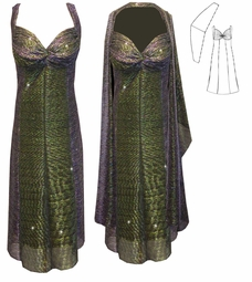 SOLD OUT! CLEARANCE! 2-Piece Semi-Sheer Sparkly Green & Purple Strokes Glimmer - Fully Lined - Plus Size & SuperSize Princess Seam Dress Set 0X 1X