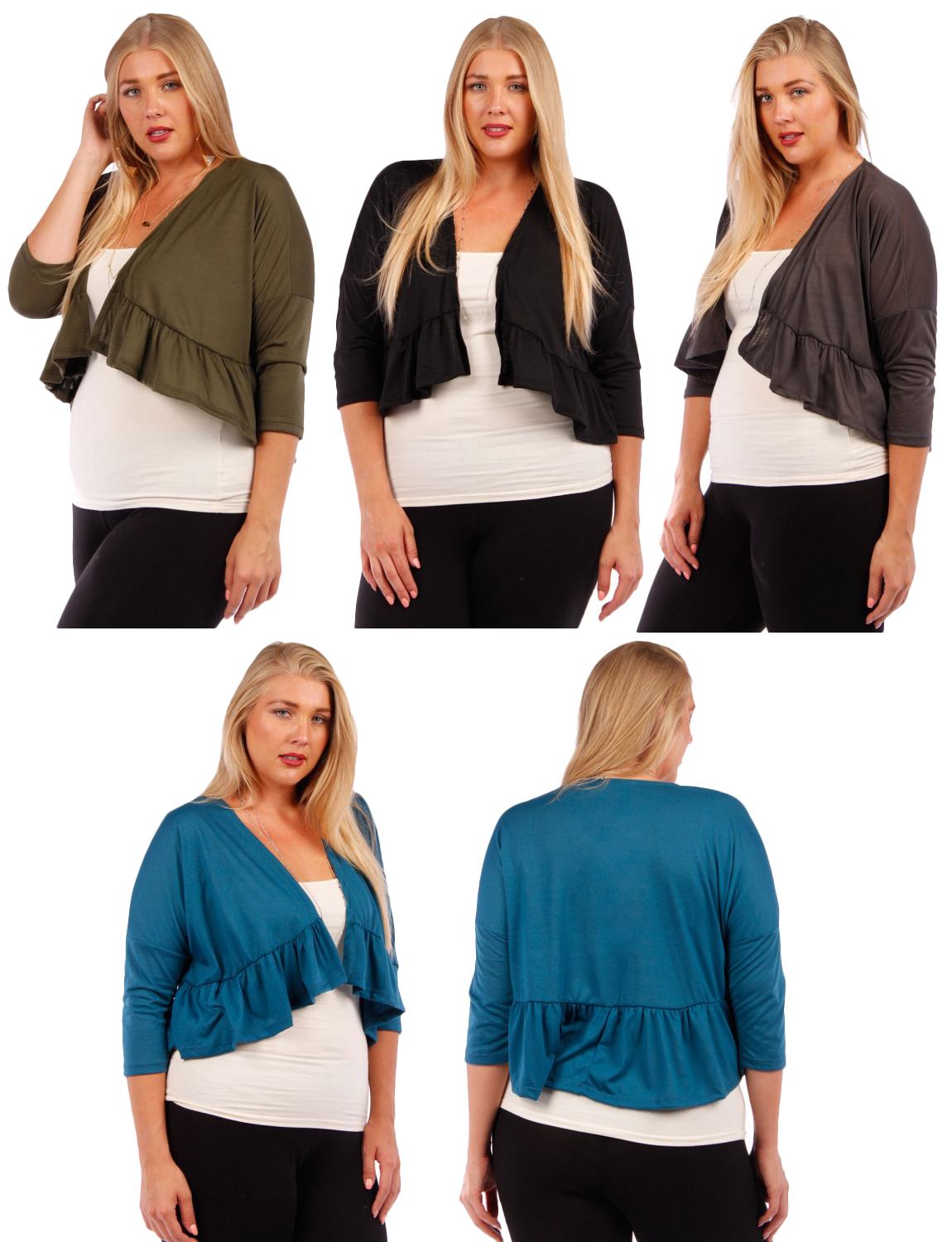 SALE! 3/4 Sleeve Poly/Rayon Jersey Shrug with Ruffled ...