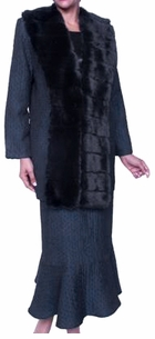 SOLD OUT!! 3-Piece Dark Teal Plus Size Jacket, Top & Skirt Set With Detachable Faux Fur Collar 5x