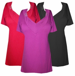 SALE!  $9.99 - Soft V-Neckline with Crystal Details Tops