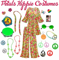 SALE! Airbrushed Petals Print Hippie 2PC Set - 60's Style Retro Plus Size & Supersize Halloween Costume Kit Lg XL 0x 1x 2x 3x 4x 5x 6x 7x 8x 9x