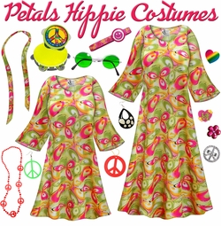 SALE! Airbrushed Petals Print Hippie Dress - 60's Style Retro Plus Size & Supersize Halloween Costume Kit Lg XL 0x 1x 2x 3x 4x 5x 6x 7x 8x 9x