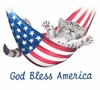 SOLD OUT! American Kitty!! Cat in Hammock! God Bless America Plus Size & Supersize T-Shirts 3xl 5xl