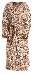 SALE! Soft Plush Animal Print Hooded Microfleece Plus Size Robe 3x 4x