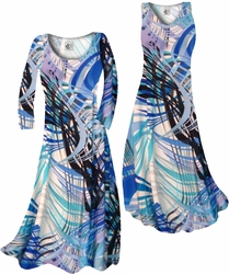 SOLD OUT! CLEARANCE! Aqua Blue Tropical Brushstrokes Slinky Print Plus Size & Supersize Tops & Skirts 3x