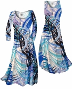 CLEARANCE! Aqua Blue Tropical Brushstrokes Slinky Print Plus Size & Supersize Tops & Skirts 3x