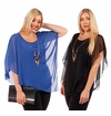 SALE! Asymmetrical Layered Chiffon Top With Goldstyle Accent Necklace  Plus Size  4x 5x
