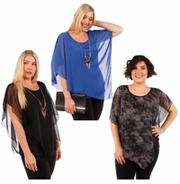 CLEARANCE SALE! Plus Size Charcoal or Blue Asymmetrical Layered Chiffon Top With Goldstyle Accent Necklace 4x