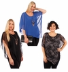 SALE! Plus Size Charcoal or Blue Asymmetrical Layered Chiffon Top With Goldstyle Accent Necklace 4x 5x 6x