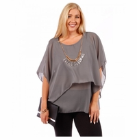 SALE! Plus Size Gray Asymmetrical Layered Chiffon Top with Necklace 4x 5x 6x