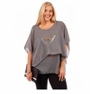 CLEARANCE SALE! Plus Size Gray Asymmetrical Layered Chiffon Top with Necklace 4x