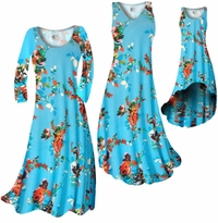 SOLD OUT! CLEARANCE! Azure Blue With Crimson Red Rose Buds Slinky Print Plus Size & Supersize Standard Dress or Pants  2x