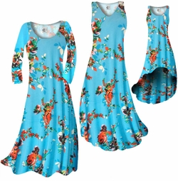 CLEARANCE! Azure Blue With Crimson Red Rose Buds Slinky Print Plus Size & Supersize Standard Dress or Pants  2x