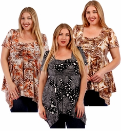 SALE! Babydoll Plus Size Supersize Slinky Tops! Beautiful New Prints! Sizes 4x