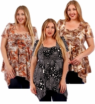 SALE! Babydoll Plus Size Supersize Slinky Tops! Beautiful New Prints! Sizes 4x 5x 6x