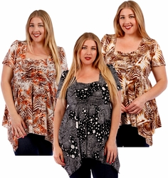 SOLD OUT! SALE! Babydoll Plus Size Supersize Slinky Tops! Beautiful New Prints! Sizes 4x