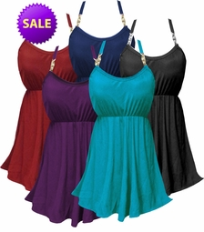 CLEARANCE! Solid Color Plus Size Babydoll Style Swim Tank & Bottoms Set in Many Colors Solid Black Purple Navy Teal 0x 1x
