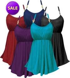 CLEARANCE! Solid Color Plus Size Babydoll Style Swim Tank & Bottoms Set in Many Colors Solid Black Purple Navy Teal 0x 1x 4x