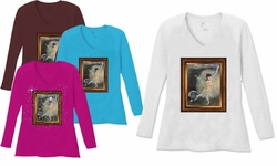 SALE! Ballerina Girl Painting V Neck / Round Neck Long Sleeve Plus Size Shirt  Brown Purple 5x