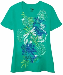 SOLD OUT!!!! Beautiful Aqua Graphic Dragonfly Floral Print Glittery Plus Size T-Shirt 4x 5x
