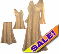 CLEARANCE! Beautiful Golden Tan & Gold Glittery Plus Size & Supersize Dresses, Shirts & Pants 0X 1X
