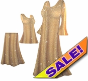 SOLD OUT! Beautiful Golden Tan & Gold Glittery Plus Size & Supersize Dresses, Shirts & Pants