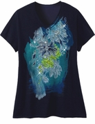 SOLD OUT! Just Reduced! Beautiful Navy Graphic Floral Print Glittery Plus Size T-Shirt