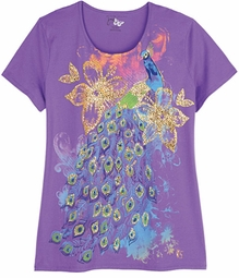 SOLD OUT!!!! Beautiful Sparkly Purple Graphic Peacock Floral Print Glittery Plus Size T-Shirt 4x 5x