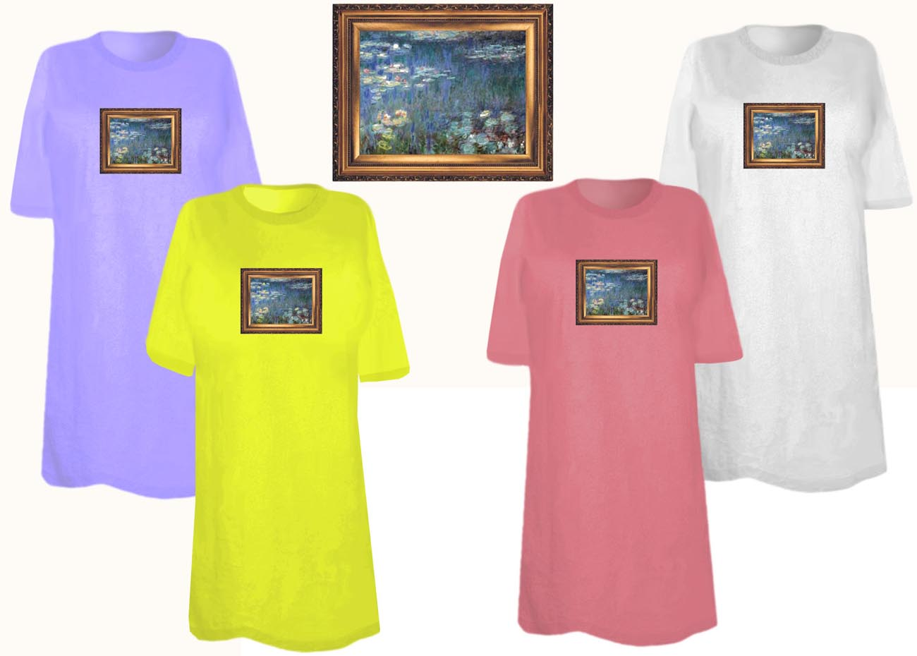 Sale Beautiful Waterlilies Painting Plus Size Supersize