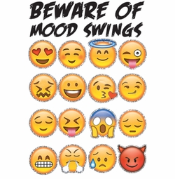 SALE! Beware of Mood Swings Emojis Glitter Plus Size & Supersize T-Shirts S M L XL 2x 3x 4x 5x 6x 7x 8x 9x (Medium/Light Colors Only)