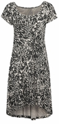 SALE! Black & Cream Print High Low Plus Size Knit Dress 3x