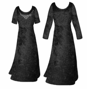SALE! Black Crush Velvet Plus Size & Supersize Sleeve Dress LG 1x