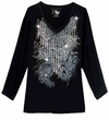 CLEARANCE! Just Reduced! Sparkly Silver & Black Diamond Lines Glittery Plus Size Long Sleeve T-Shirt 4x
