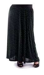 CLEARANCE! Plus Size Black With Diagonal Stripe Pin Dots Long Skirt 5x