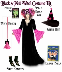 SOLD OUT!!!!! Black& Hot Pink! Witch Costume / Accessory Kit! Available in Sizes Lg XL 0x 1x 2x 3x 4x 5x 6x 7x 8x 9x