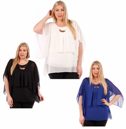 SALE! Black, Ivory or Blue Plus Size Layered Chiffon Top 4x 6x