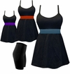 CLEARANCE! Plus Size Black With Colored Tie 2PC Babydoll Style Swim Tank Top w/Belt 0x 1x 2x