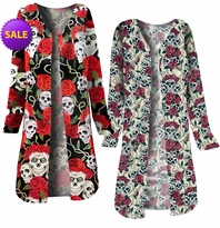 SOLD OUT! SALE! Black or Beige Skull Roses Tattoo Denim Plus Size Duster Jacket 4x