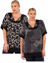 SALE! Black or Gray Abstract Prints! Plus Size Slinky Shirts 4x