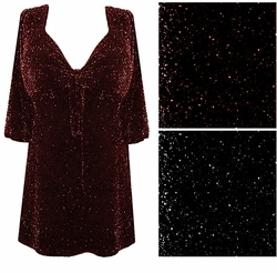 SALE! Black With Black Glimmer or Black With Red Glimmer Tie Babydoll Shirt Plus Size & Supersize 0x