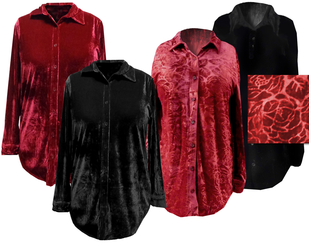 Final Clearance Sale Black Or Red Velvet Button Down Plus Size