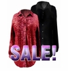 FINAL CLEARANCE SALE! Black or Red Velvet Button-Down Plus Size Blouses  2x
