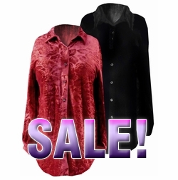 SOLD OUT! FINAL SALE! Black or Red Velvet Button-Down Plus Size Blouses 1x 2x 3x
