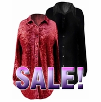 FINAL SALE! Black or Red Velvet Button-Down Plus Size Blouses  2x 3x 4x